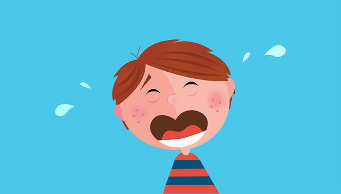 Illustrazione che raffigura un bambino che piange a causa di un dente rotto trauma dentario