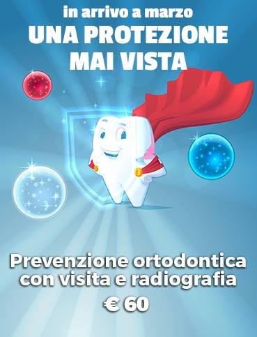 immagine relativa alla promozione del mese dello studio dentistico d'alba a Palermo. Prevenzione ortodontica con visita e radiografia a € 60.
